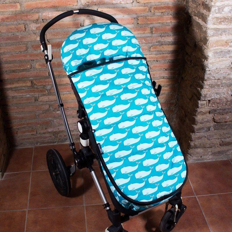 Saco carrito bebe de verano con estampado de ballenas en tonos azul - Sacos silla bebe invierno ...