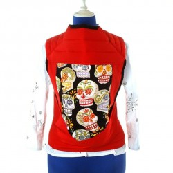 Porte bébé Mei tai rouge avec grand têtes de mort mexicaine