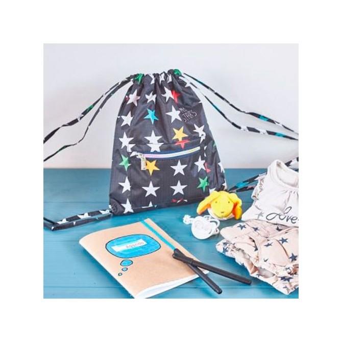 Mochila guarderia estrellas negro Mybags, cuaderno