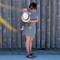 Vestido Lactancia Indri Rayas sombrero