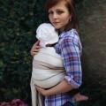 Bandolera anillas bebe rayas beige