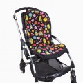 Babystroller cushion - black ladybugs
