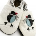 Patucos bebé de piel - pinguinos