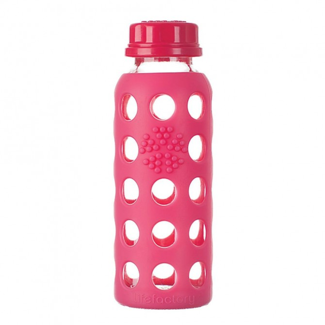Glass Baby Bottle with Protective Silicone Sleeve, Grapeberry 250ml