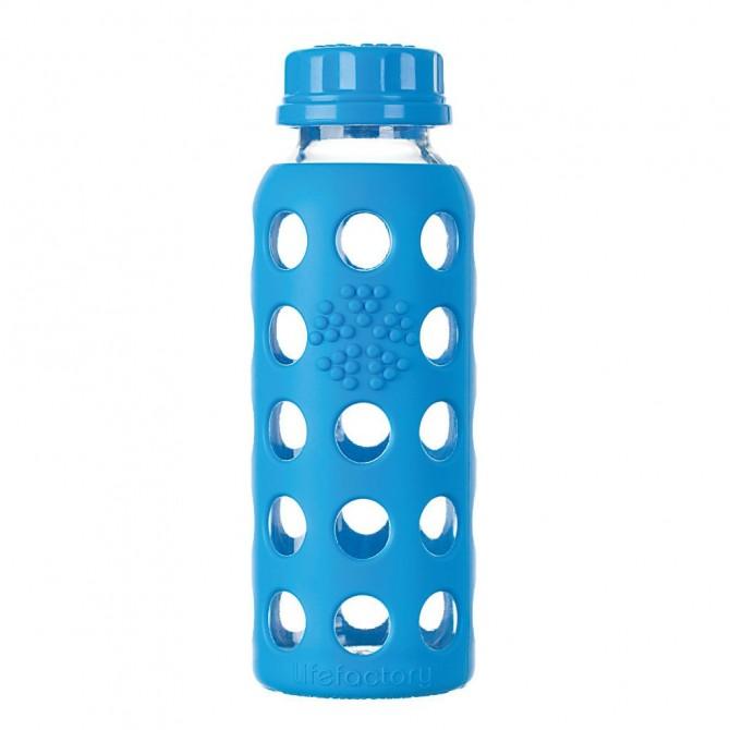 Botella de cristal flat cap con protección Ocean 250 ml