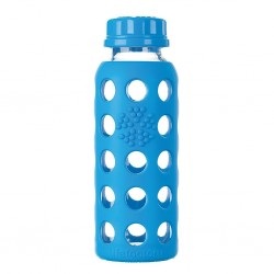 Glass water bottle with flat cap and Protective Silicone Sleeve, Ocean250ml