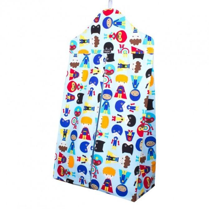 Guarda pañales vertical - superheroes azul