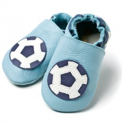 Leather baby booties - Soccer