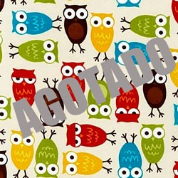 Tela 105 Buhos multicolores