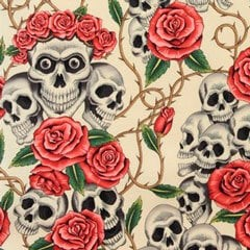 Tela 213 Rose tattoo fondo crema