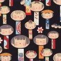 Mei tai rojo niños japoneses fondo negro