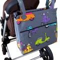 Stroller diaper bag Vespas on grey