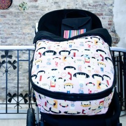 Bugaboo footmuff Japanese on pink