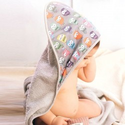 Baby bath wrap Grey owls Mybags