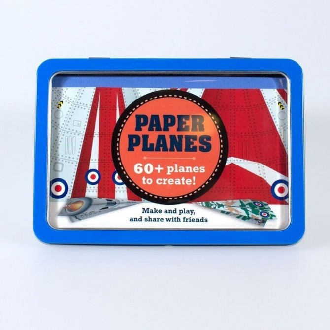 Boîte métallique avions en papier