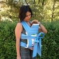 Porte bébé Mei tai bleu avec tissu 2d zoo