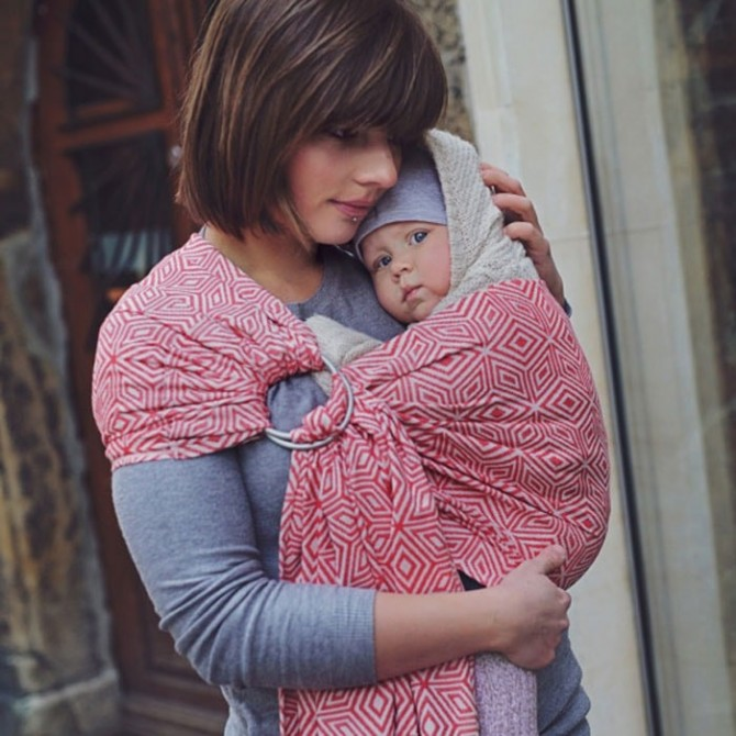 Baby ring sling Red cube by littlefrog