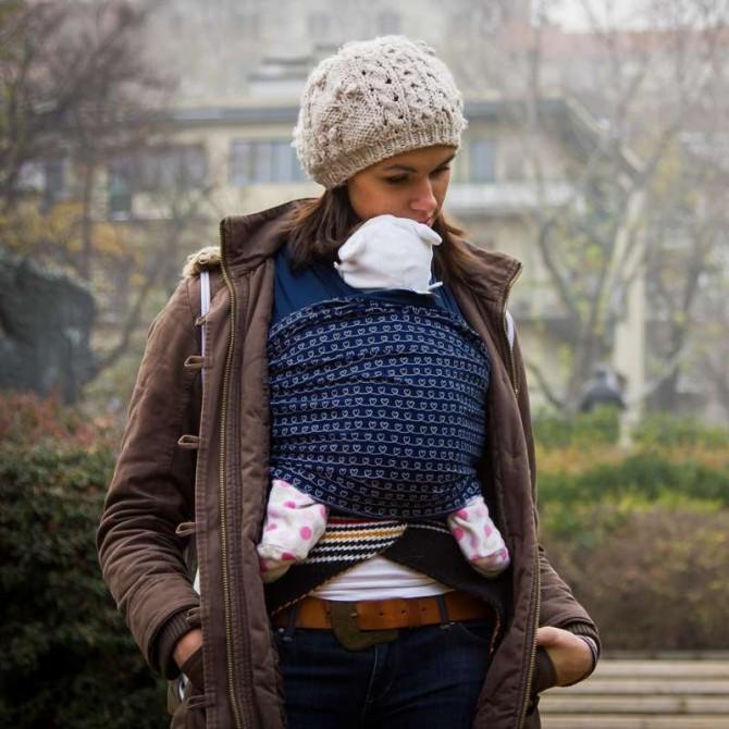 Fular elástico portabebés Heartbeat frente bebé