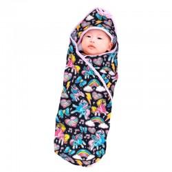 Hooded baby blanket retro unicorns
