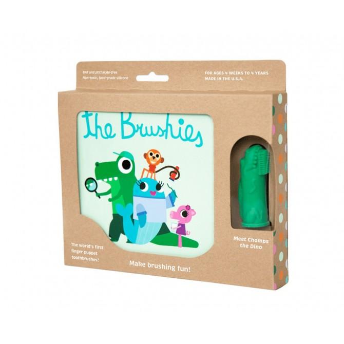 Caja regalo cepillo bebé + cuento Chomps El Dino