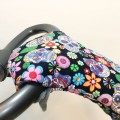 Winter gloves for baby strollers - skulls and flowers