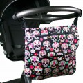 Messenger diaper bag - paisley skulls