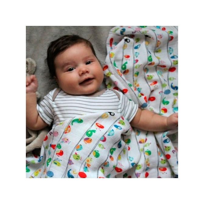 Muselina para bebé de bambu - pajaritos