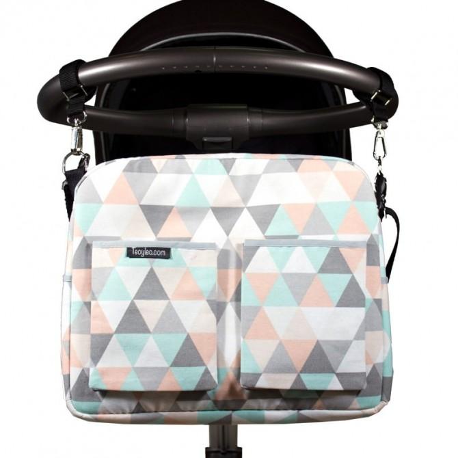 Bolso carro bebe - triángulos pastel