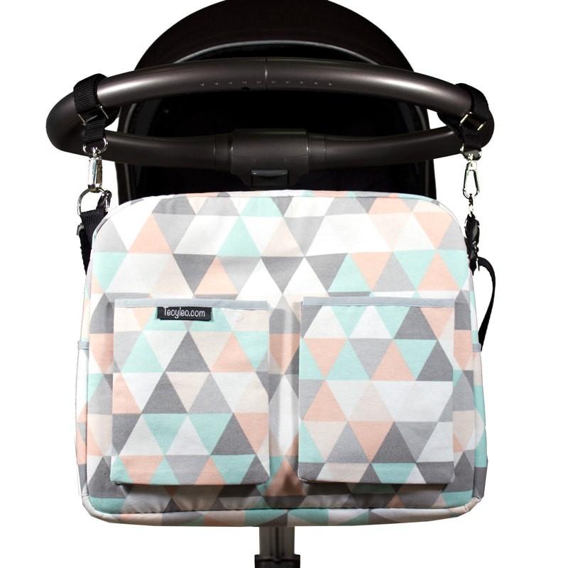 Bolso carro bebe triángulos pastel