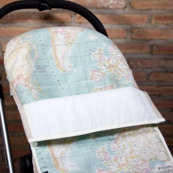 Universal stroller footmuff - world map