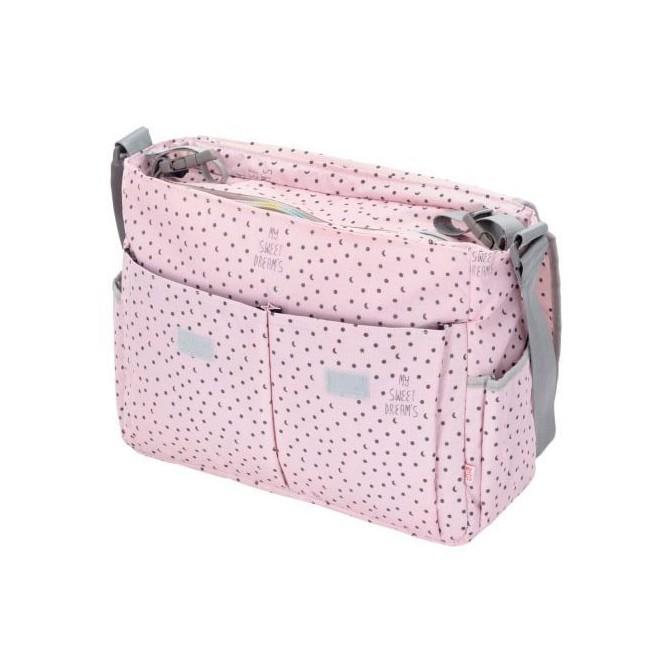 Bolso carrito bebe - rosa con lunas y estrellas