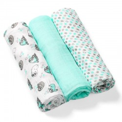 Lot de 3 langes en bamboo mint