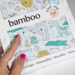 Bamboo baby swadel mint Animals