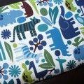 Coverture de bébé 2D Zoo bleu sur blanche