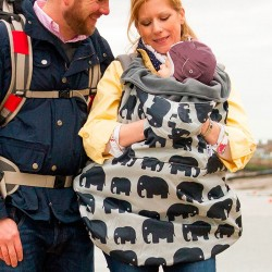 Cobertor de porteo impermeable Bundlebean - elefantes gris