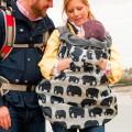 Cobertor de porteo universal impermeable Bundlebean - elefantes gris