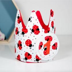 Corona de cumpleaños - mariquitas y topos