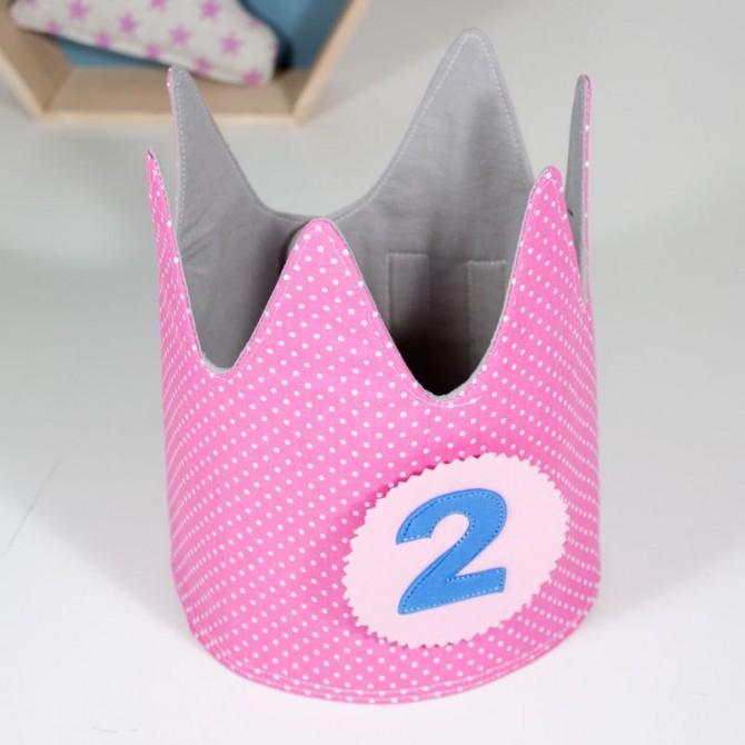 Corona de cumpleaños - topos rosa