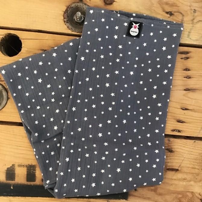 Muselina gris Estrellas abierta