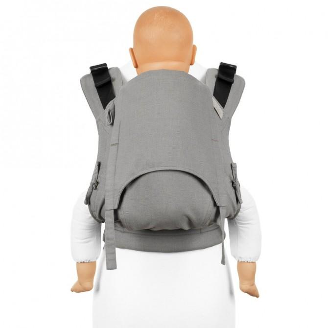 Mochila ergonómica FIdella fusion toddler chevron gris claro frente