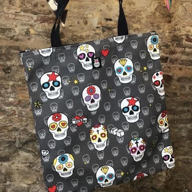 Bolsa tote bebé mexican skulls