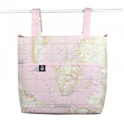 Bolso panera carrito bebé - mapa mundi rosa