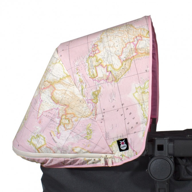 Capota Bugaboo - mapa mundi rosa