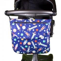 Bolso carrito bebé - naves azul