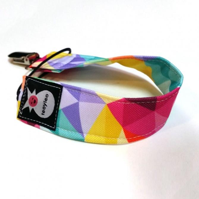 Cinta portachupetes - arcoiris geometrico