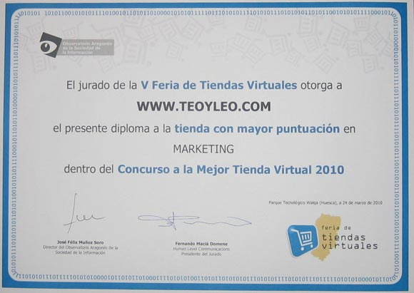 Diploma premio Teoyleo marketing