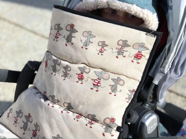 Saco silla universal para silla Uppa Baby Vista con tela de ratoncitos