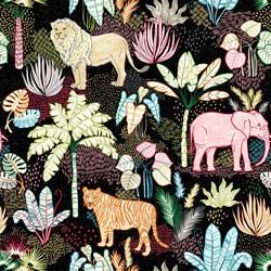 Tela 763 hojas y leopardos