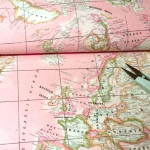 Tela 876 mapa mundi rosa